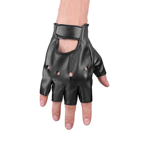 IEFIEL Women Half Palm Fingerless Adjustable Faux Leather Night Bar Band Punk Performance Gloves Black#2 One Size