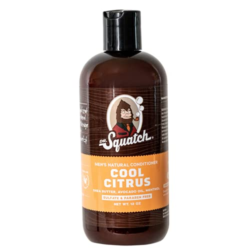 Dr. Squatch Cool Citrus Conditioner for Men – Daily Hair Conditioner – Stimulates, Hydrates, Soothes Scalp – Naturally Sourced with Organic Peppermint, Calendula, Clary Sage