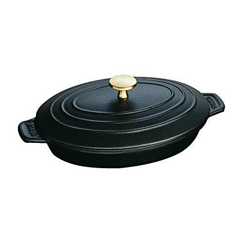 STAUB Hot Plate Fuente Ovalada con Tapa, Hierro Fundido, Negro Mate, 23 cm