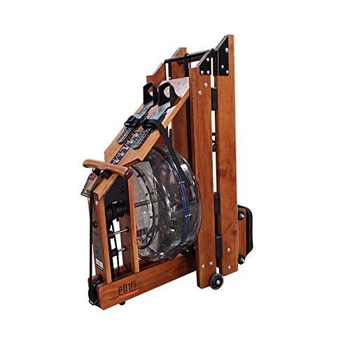 DAMAI Water Rowing Machine with Folding Function, LCD Display, Adjustable Footrest and Multi-Resistance Adjustment Real Wood Home Trainer