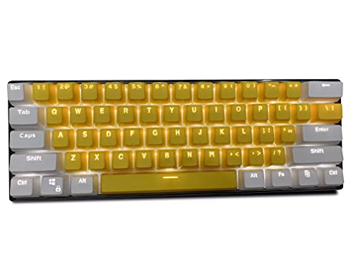 Topwang Keycaps, 61 PBT Keys Keycaps Mechanical Keyboard Keyboard Keycaps Double Backlit Word Transparent Color Gaming keycaps for US Layout Keyboard for Cherry MX (Only sell keycaps) keycaps