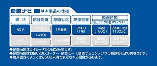 マクセル(maxell)録画用(1回録画用)BD-R地上デジタル180分BSデジタル130分4倍速対応インクジェットプリンタ対応ホワイト(ワイド印刷)50枚スピンドルケース入BRV25WPE.50SPZ
