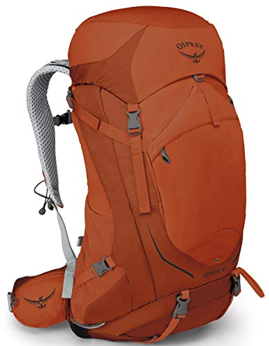 Osprey Packs Stratos 50 Backpacking Backpack, Sungrazer Orange, Medium/Large