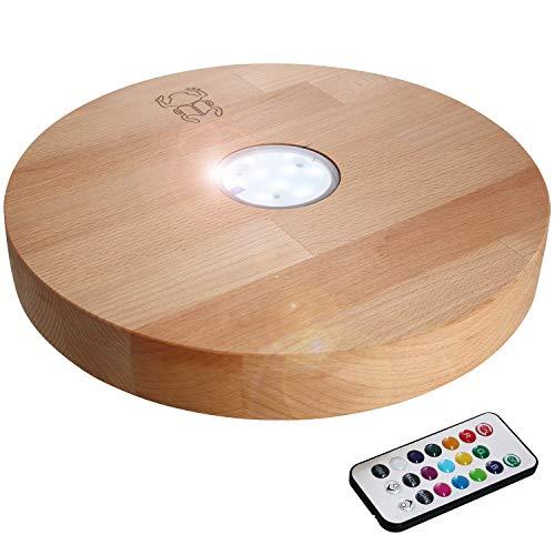 Kaya Shisha, LED y mando a distancia, diámetro: 30 cm, madera de haya, accesorios para pipa de agua