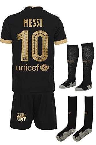 Barca Messi 2020/2021 Auswarts Trikot und Shorts mit Socken Kinder und Jugend Größe (128)