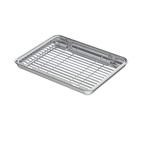 Small Baking Sheets with Rack, Mini Cookie Sheets and Nonstick Cooling Rack & Stainless Steel Baking Pans & Toaster Oven Tray Pan, Rectangle Size 10.4 x 8 x 1 inch & Non Toxic