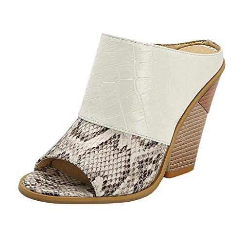KERULA Sandalen Damen Absatz, Fashion High Heels Snake Print Open Toe GroßE GrößEn Hausschuhe Pumps Damenschuhe Slipper Shoes Strandschuhe Sandaletten Schuhe