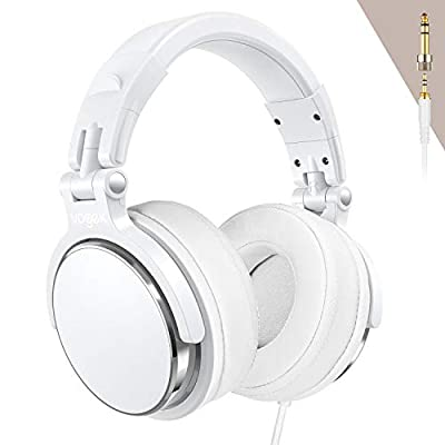 Studio Headphones with 6.6ft XLR Cable, Vogek Prefessional DJ Headphones Mixing DJ Headset Protein Memory Foam Ear Pads, 50mm Neodymium Drivers Stereo Sound for Electric Drum Piano Guitar AMP (Silver) from Vogek
