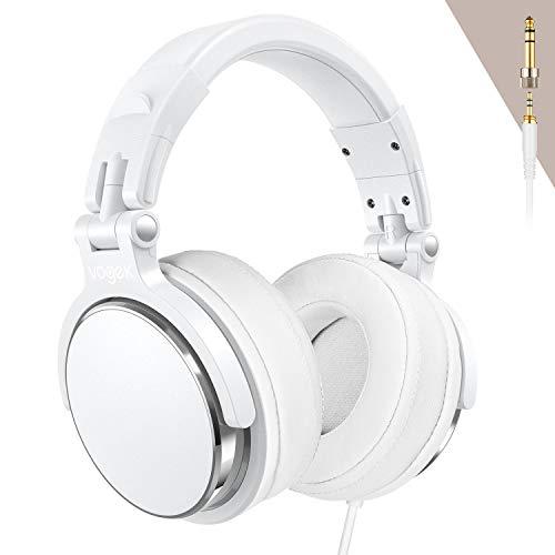 Studio Headphones, Vogek Professional DJ Headphones Mixing DJ Headset Protein Memory Foam Ear Pads, 50mm Neodymium Drivers Stereo Sound for Electric Drum Piano Guitar AMP