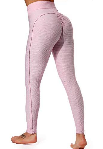 FITTOO Leggings Mallas Mujer Pantalones Deportivos Yoga Alta Cintura Elásticos y Transpirables#6 Rosa Mediana