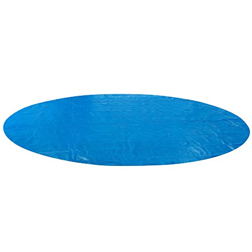 Arebos Pool Solarfolie/Abdeckung | rund | 360 cm | Materialstärke 0,4 mm | schwimmend | verringert Wasser-Verdunstung | PE Luftpolsterfolie | blau