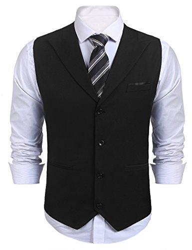 COOFANDY Herren Weste Anzugweste Kariert V-Ausschnitt Ärmellose Slim Fit Smoking Frack, A-schwarz, XL