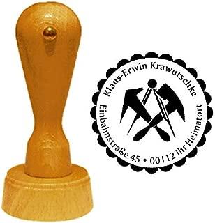 Handwerk Dachdeckerei Zunft Bau Stempel Holzstempel Motivstempel /« DACHDECKER /» Durchmesser ca /Ø 40 mm mit pers/önlicher Adresse und Motiv