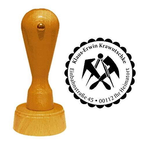 Stempel Adressstempel « DACHDECKER » Durchmesser ca. Ø 40 mm - mit persönlicher Adresse, Motiv und Zierrand - Zunft Zunftzeichen Beruf Dachdecken