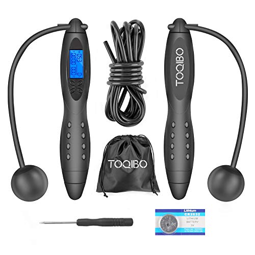 TOQIBO Springseil Speed Rope Verstellbare Digitale Drahtlose Seilspringen mit Kalorienzähler& Anti-Rutsch Griffen für Training, Fitness, Boxen, Abnehmen für Kinder und Erwachsene
