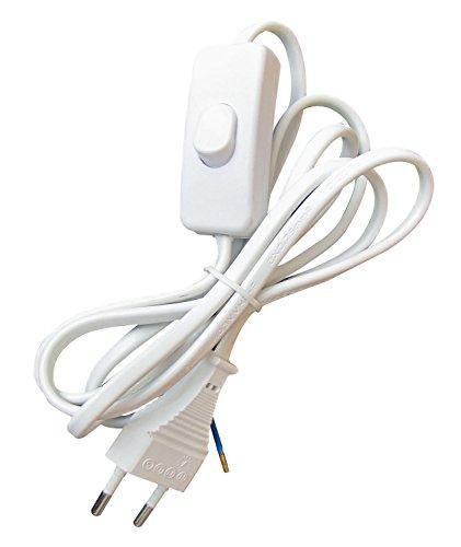 TIBELEC 163910 Câble d'alimentation avec Prise électrique/Interrupteur Blanc