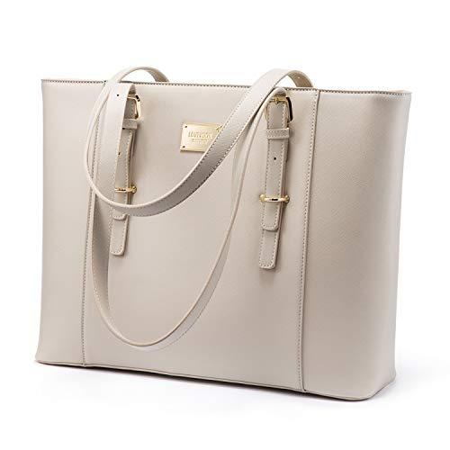 LOVEVOOK Laptop Handtasche Damen, Wasserdicht Groß Shopper Laptoptasche Schultertasche Aktentasche PU Leder für Arbeit Business Uni, Weiß