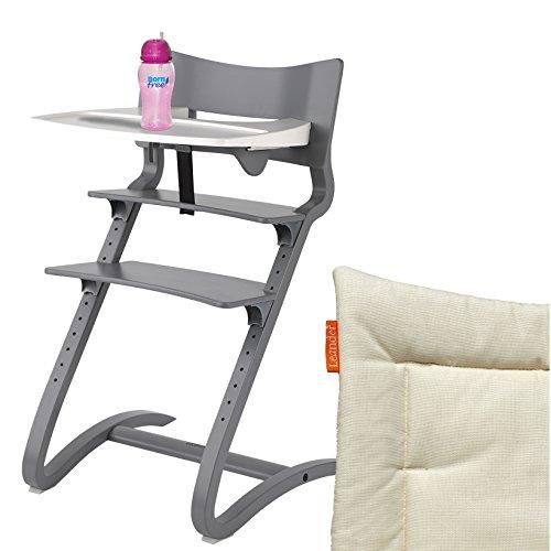 Leander Hochstuhl grau Komplettpaket mit Sicherheitsbügel, Tisch, BFree-Trinkbecher und Sitzkissen Vanilla