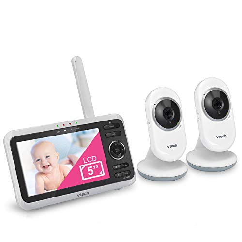 "VTech VM350-2 5"" Video Baby Monitor with 5"" Screen, Long Range, Invision Infrared Night Vision, 2 Cameras, Multiple Viewing Options, Two Way Talk, Auto On Screen, Monitor with 2 Camera"