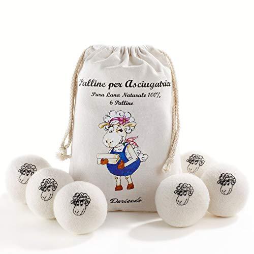 Palline Asciugatrice Pura Lana New Zealand Alta Qualità Confezione 6 Pezzi Wool Dryer Balls Effetto Ammorbidente Naturale Sfere Asciugatrice Ecologiche Riutilizzabili Atossiche Ipoallergeniche