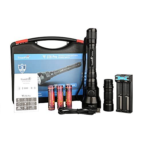 TrustFire 3T6 Pro Linterna 5200 lúmenes súper brillante, alcance 602M con 3 x LUMINUS/SST-40 LEDs, 3 X batería 18650 3400mAh, 1 X TR-016 cargador de batería USB y 1 X tubo extendido