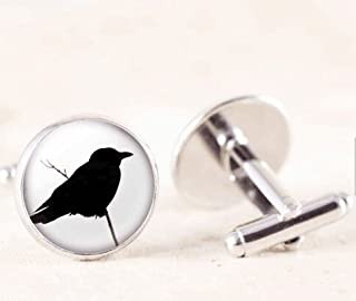 Crow Cufflinks - Silver Bird Cuff Links, Crow Silhouette Jewelry, Poe Raven Cufflinks, Bird Photo Cufflinks