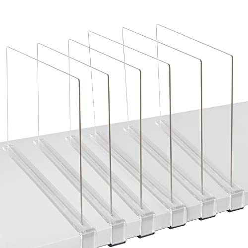 Mebbay 6 Pack Clear Acrylic Shelf Dividers for Closet, Wood Closets Shelf Separator and Organizer, for Kitchen Cabinets, Bookcases