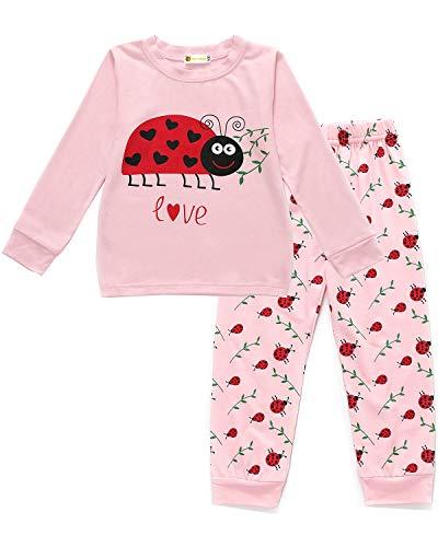MOLYHUA Marienkäfer Schlafanzug Mädchen Lang Kinder Zweiteiliger Nachtwäsche Pyjama Set Herbst Winter Weihnachten Pyjama 2 Stück Set Bekleidung 92 98 104 110 116 122