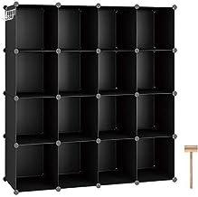 C&AHOME Cube Storage Organizer, 16-Cube Shelves Units, Closet Cabinet, DIY Plastic Modular Book Shelf, Ideal for Bedroom, ...