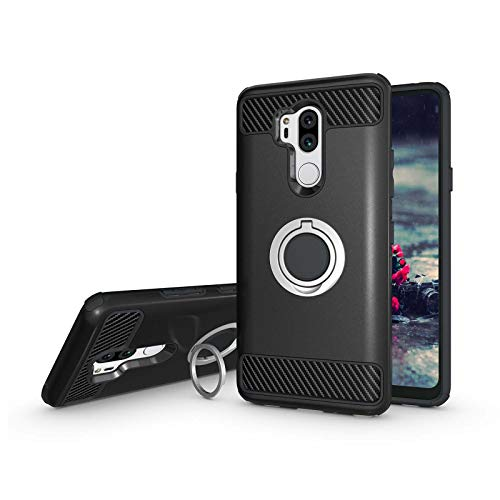 Newseego Compatible with LG G7 ThinQ Case,LG G7 Case 6.1inch with Armor Dual Layer 2 in 1 with Extreme Heavy Duty Protection and Finger Ring Holder Kickstand for LG G7 ThinQ -Black