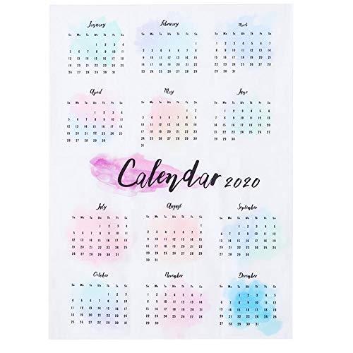 Calendário de parede elegante de 27,6 x 19,7 no calendário, lannelette colorido pendurado para sala de estudo, quarto de fundo de escritório