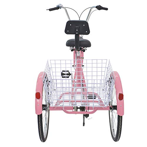 MOPHOTO Adult Tricycles 7 Speed 24 Inch Three Wheel Bike Cruiser Trike with Low-Step Through Frame/Large Basket/Backrest Saddle for Men/Women/Seniors/Young (Pink, 7-Speed)