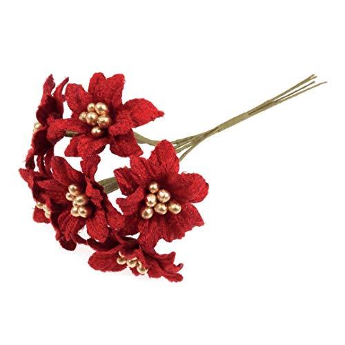 6 Stem Red Mini Artificial Christmas Poinsettia Flower Spray x 10cm