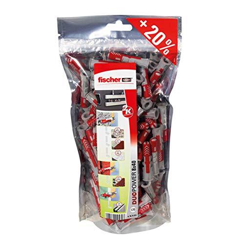 fischer 535980 Bigpack DuoPower 8x40 Aire Acondicionado, Pared, universales, Tacos para hormigón, Pack de 120 Unidades, Grigio Rosso