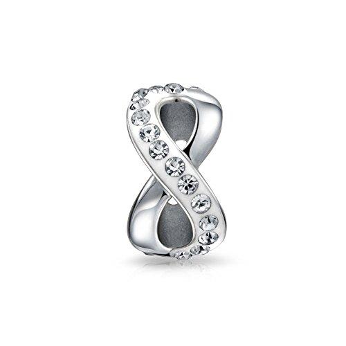 Plata Infinity nudo amor figura 8 motivo cristal espaciador de cristal de plata de ley se adapta a la pulsera de encanto europeo para las mujeres