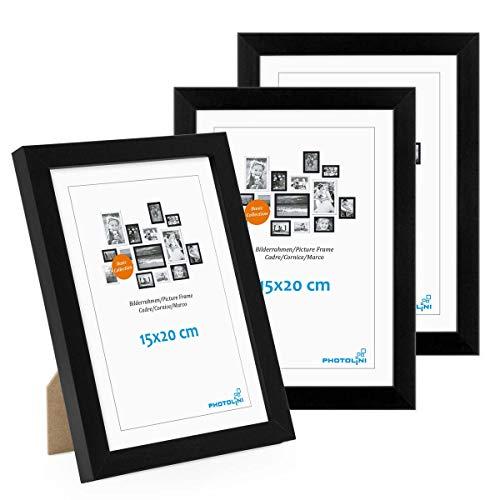 Photolini Juego de 3 Marcos 15x20 cm Modernos, Negros de MDF con Vidrio acrílico, Incluyendo Accesorios/Collage de Fotos/galería de imágenes