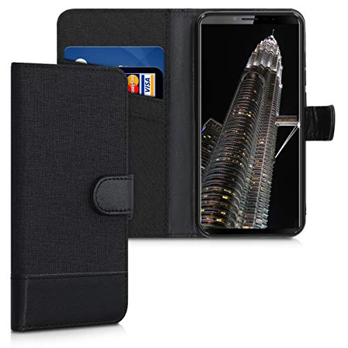 kwmobile Wallet Hülle kompatibel mit Cubot X19 - Hülle Kunstleder mit Kartenfächern Stand in Anthrazit Schwarz