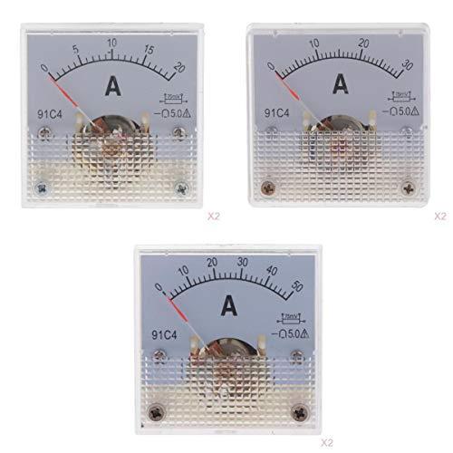 gazechimp 6PCS 0-20A / 0-30A 50A DC Voltímetro Analógico Voltímetro Voltímetro 91C4