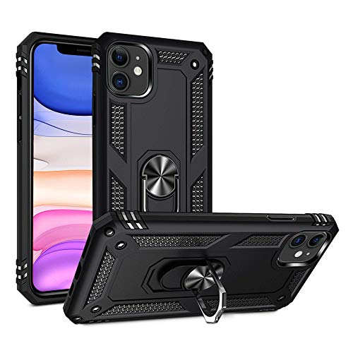 ARRISLIFE iPhone 11 Estuche, [Military Grade] Dual Layer Estuche Protector with Stand Function, Soft TPU Bumper Protective Cabina telefónica for Apple iPhone 11 6.1 Inch - Black