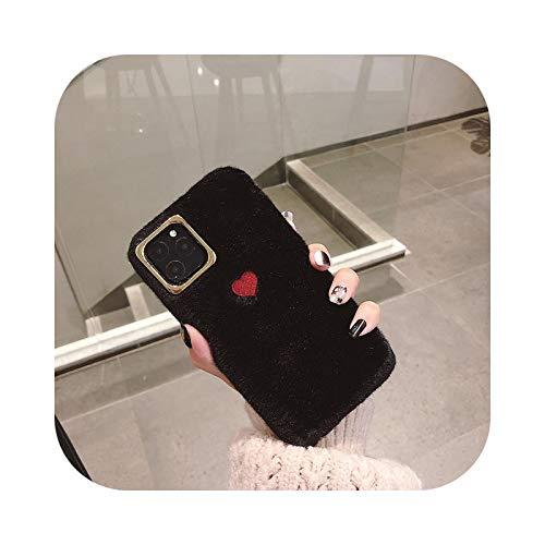 Lindo amor corazón bordado felpa funda del teléfono para iPhone XR XS X XS Max 7 8 6 6SPlus Cálido color de pelo sólido suave silicona cubierta trasera -T1-Para iPhone 6 6S Plus