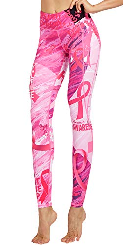 LEGENDFIT Breast Cancer Awareness Leggings Pink Ribbon Printed Yoga Pants Workout Running Tights with Pockets for Women