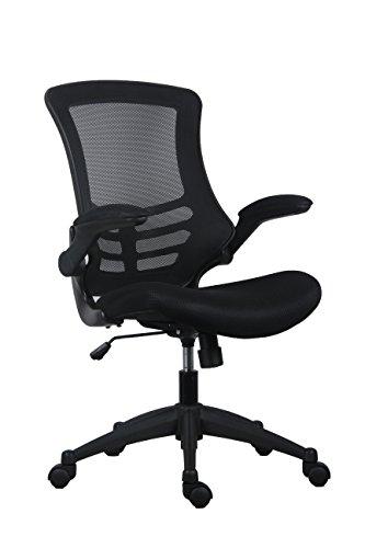 Büro Hippo Barlow Mesh Stuhl mit klappbare Armlehnen, schwarz, one Size