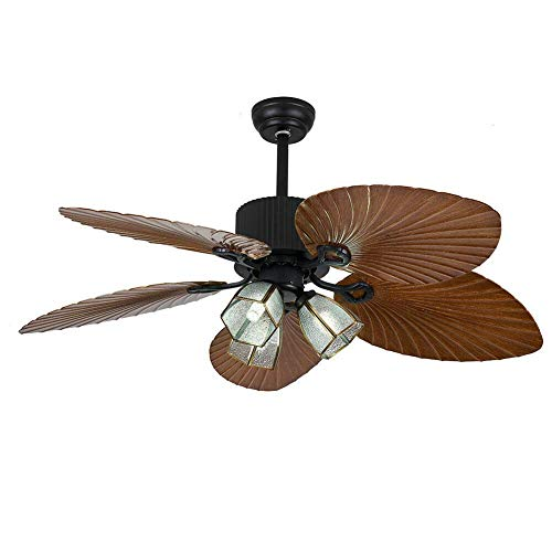 Ventilador de techo de diseño tropical con luz de 132 cm, 5 hojas de palma y control de cadena