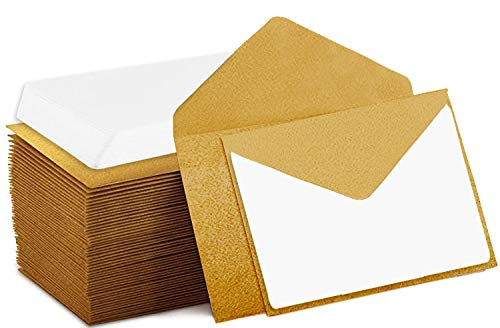 140 Mini Envelopes with White Blank Note Cards, Mini Envelopes 4'x 2.7' for Business Cards, Gift Cards (Gold)