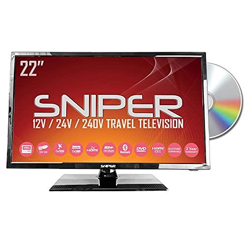 Sniper 22? HD LED Travel TV with built in DVD, Satellite and Freeview, 12V, 24V & Mains. DVB-T2 & DVB-S2