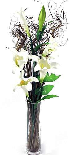 Link Products Künstliche Blumenstiele, bis zu 100 cm, mit gratis gelocktem Gras, hoch, bereit für eine Vase, (sortiert) (cremefarbene Calor Lilly 6 Köpfe)