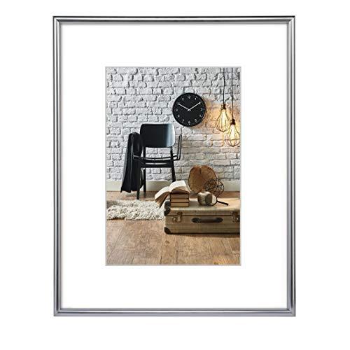 Hama Bilderrahmen 30x40 cm Sevilla (Fotorahmen mit Passepartout-Einleger 20x27 cm, Kunststoff Rahmen mit hochwertigem Glas zum Aufhängen) silber-matt