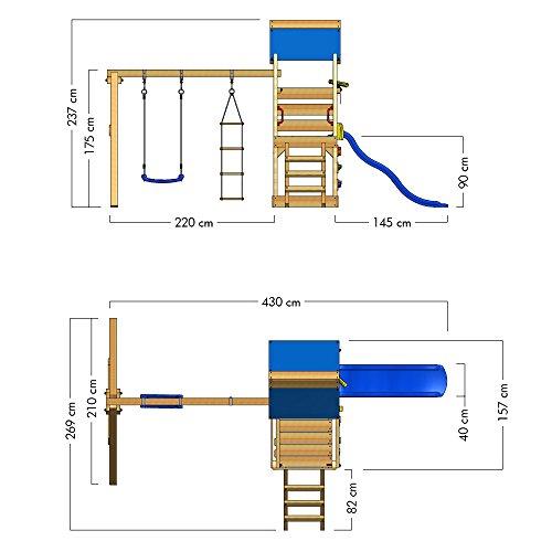WICKEY Spielturm Klettergerüst TurboFlyer mit Schaukel & blauer Rutsche, Kletterturm mit Sandkasten, Leiter & Spiel-Zubehör - 6