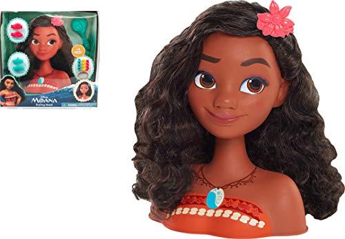 Disney Princesses - Vaïana, Tête à Coiffer Basic, 14 Accessoires de Coiffure inclus, Jouet pour Enfants dès 3 Ans, DND14