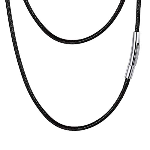 PROSTEEL Leather String Rope Necklace Chain for Men Women 2mm 18inch Black Leather Necklace Cord with Clasp Necklaces